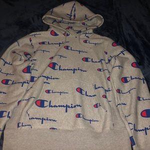 Men's Pullover Champion Hoodie Allover logo gray